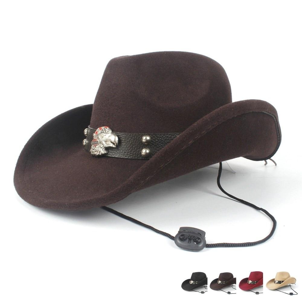 2019 Steampunk Frauen Männer Wolle Hohl Western Cowboy Hut Roll-up Krempe Gentleman Outblack Sombrero Hombre Jazz Kappe Fedora Hut