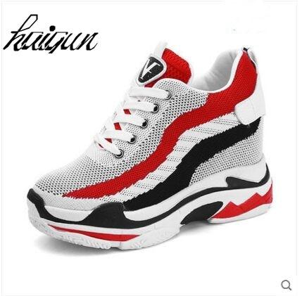 b1ed9332aa83 2018 spring autumn women wedges hidden heel platform shoes fashion lace up  height increasing Vulcanized shoes woman high heels-in Women s Vulcanize  Shoes ...