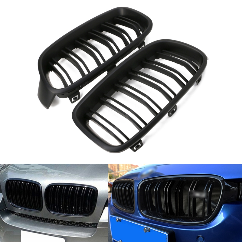Livraison gratuite 1 Paire Mat Noir Avant Grille Rein Pour BMW 3-Série F30 F31 F35 2012-2016 NOUVEAU