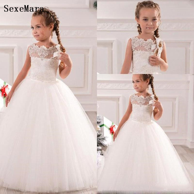 White/Ivory Little   Girls   First Communion   Dress   Pageant   Dresses   Puffy Tulle Lace Ball Gown Floor Length   Flower     Girls     Dresses