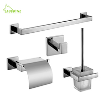 SUS 304 Chrome Silver Polish Bathroom Accessories Stainless Steel Bathroom Hardware Set Towel Rack Paper Holder