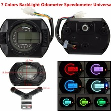 Triclicks Adjustable Motorcycle Digital Speedometer LCD Odometer 7color Backlight Motorbike Speedo Meter Instruments New