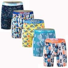 Hot Sale Combos New mens bamboo fiber print long boxer shorts u convex trunk underwear breathable underpants for men