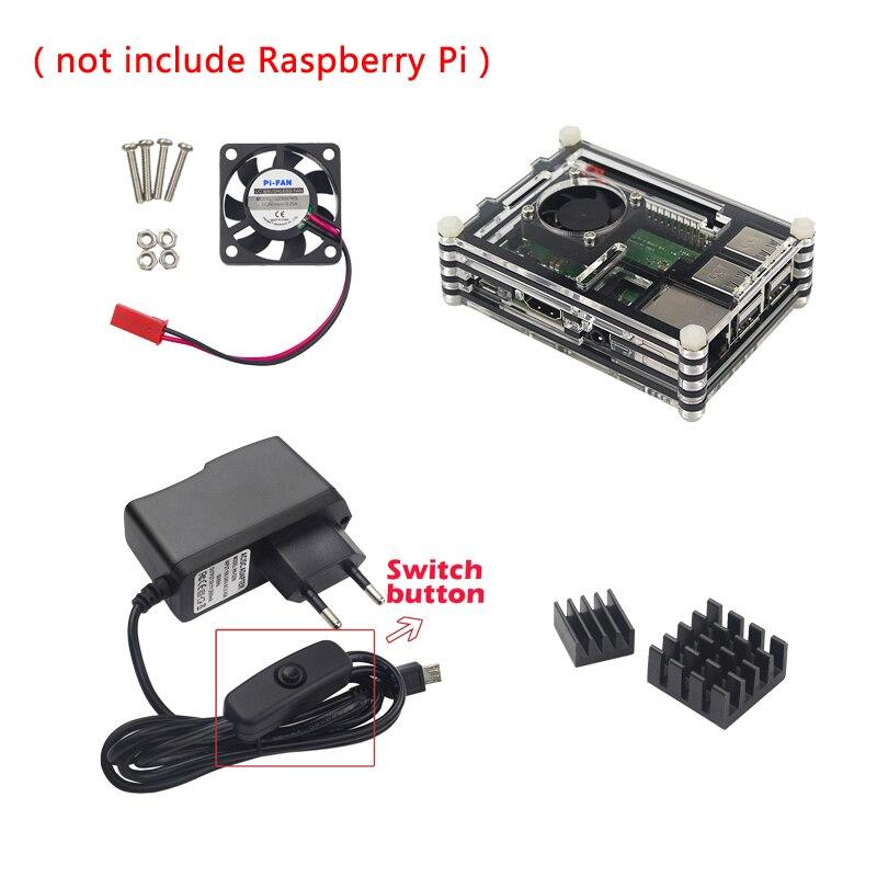 Raspberry Pi 3 Model B+ Plus Accessories kit 9-layer Acrylic Case+CPU Fan+5V 2.5A Power Adapter+Heat Sink for Raspberry Pi 3 hot nice 9 layers acrylic case offical case raspberry pi 3 model b heat sinks cooling fan 2 5a power adapter