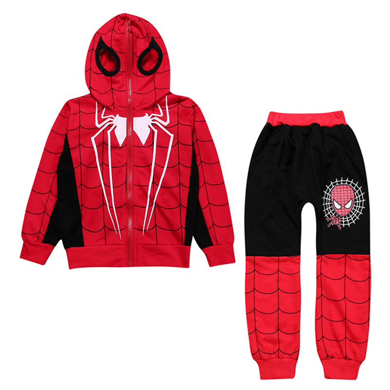 2017 New Spider Man Children Clothing Sets Boys Spiderman Cosplay Sport Suit Kids Sets jacket + pants 2pcs. Boys Clothes spider man style surfing clothes for 3 10y little boys kids one piece beachwear swimwear high quality children clothing