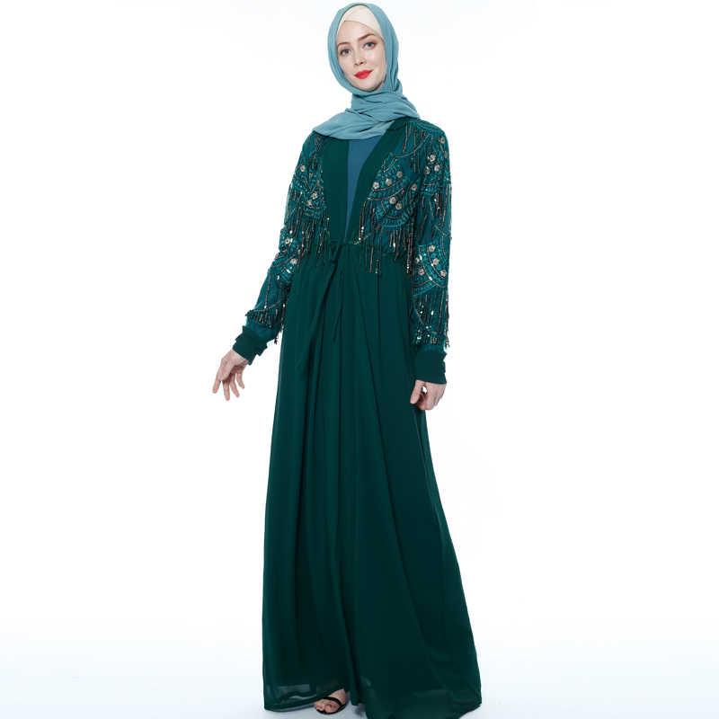 Кимоно abaya с блестками и кисточками, турецкий Дубайский Мусульманский платье хиджаб Абая для женщин кардиган, кафтан, мусульманская одежда, халат Femme