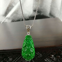 Genuine Sterling Silver 925 Green Jade Pendant For Women Natural Gemstone Flower Carving Personalized Pendant Bisuteria