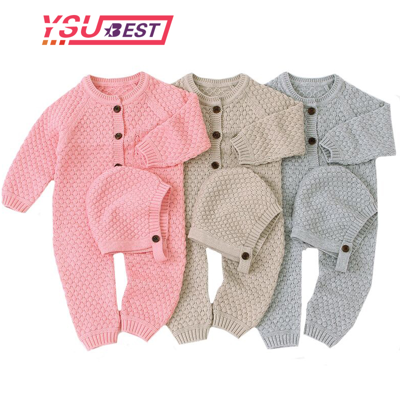 Autumn Winter Jumps Baby Girl Clothes Knitted Baby Clothes Newborn Baby   Romper   With Hat Infant Baby Jumpsuit For Boy Girl   Romper