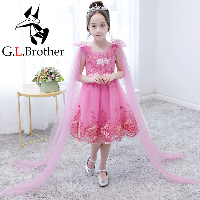 Knee Length Flower Girl Dresses Appliques Kids Pageant Dress For Wedding Birthday Party Girl Ball Gown Tutu Princess Dress AA280 new flower girl dress white ball gown kids pageant dress wedding appliques girls party dress birthday princess dresses aa202