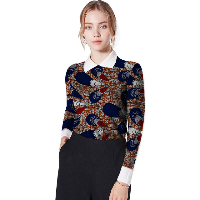 1a6feec56e4 US $25.26 25% OFF|Fashion African Print Long Sleeve Women Tops Dashiki  Clothes Ankara African Festive Print T Shirt Africa Clothing Customized-in  ...