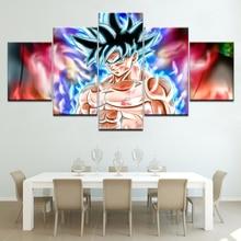Dragon Ball Goku Ultra Instinct Canvas 5 stuk Wallpapers modern Modulair Poster kunst Canvas schilderij voor Woonkamer Woondecoratie