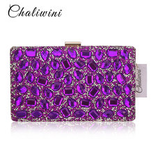 Crystal Hanging Toiletry Bag Women Clutch Purses Gold Clutches Bags Blue Evening Bag Party Silver Wedding Clutch