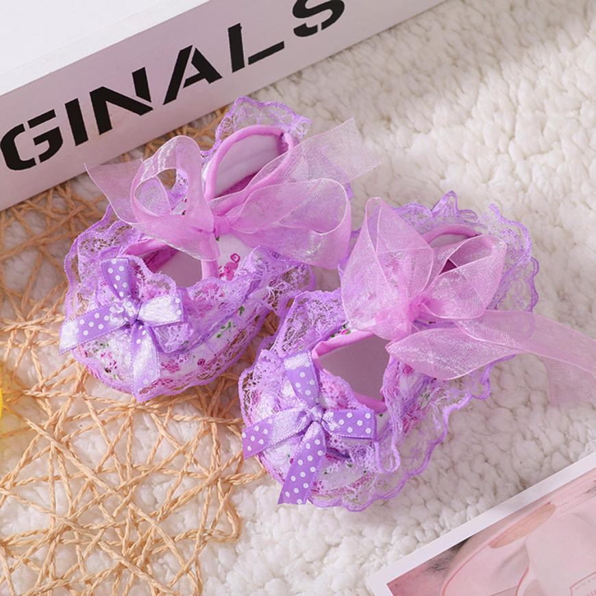 Newborn baby girl bows Soft Shoes Soled Lace Floral Print Bowknot Footwear Crib Shoes Princess Todder shoes Rose Flowers