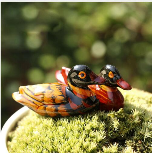 1PCS/lot  Chinese Characteristics Small Mandarin Duck Carving Crafts Desktop Decoration Wood Products Crafts Home Furnishings