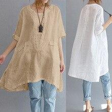 long women blouse Cotton Linen short sleeve Asymmetric Loose Oversized Women Shirt Pockets Tunic Tops Plus Size White S-5XL plus size monochrome asymmetric tunic tee