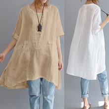 d5593dd74 Blusa larga de las mujeres algodón de lino manga corta asimétrica suelta  Oversized mujer camisa bolsillos túnica Tops más tamaño.