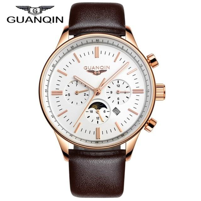 Men Watches Top Brand Luxury GUANQIN Quartz-Watch Leather Watchbands Sport Waterproof Casual Relogio Masculino Montre Homme