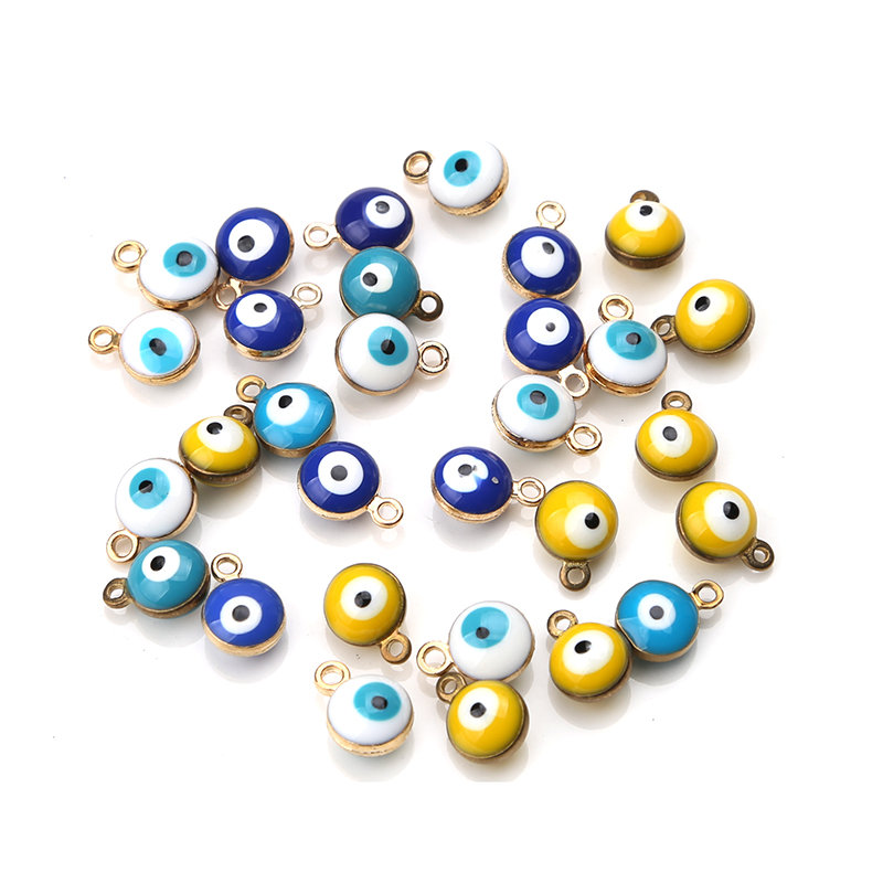20pcs/lot 6mm Turkey Evil Eye Beads Pendant Mixcolor Bead Charms for Necklace Bracelet Diy Jewelry Components