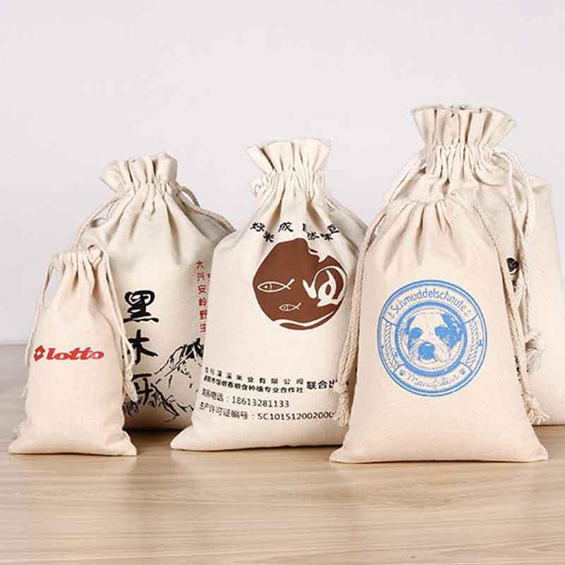 100pcs Handmade Cotton Drawstring Bag Men Women Travel Packing Organizer Reusable Shopping Bag Tote Female Luggage Storage Pouch