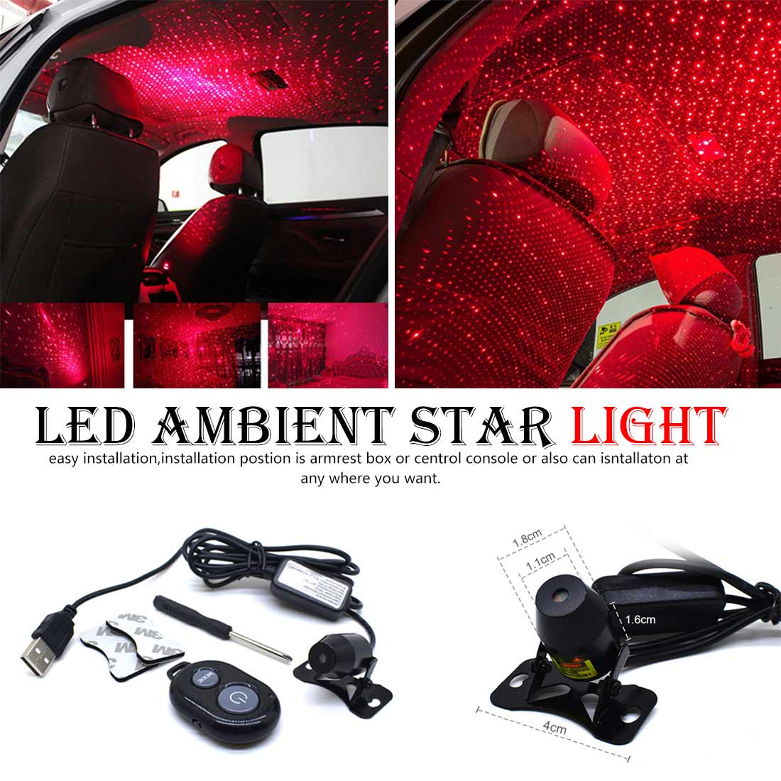 FangNymph Voice Control LED Light Car Atmosphere Colorful Music Sound Lamp Ambient Star Light Remote Control Spotlight USB Plug image