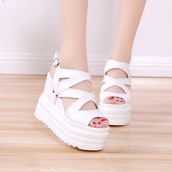 High Heels Gladiator Sandals Women Platform Shoes 2019 Summer Fashion Leather Wedges Female Sandal Chunky Sandals For Woman Shoe