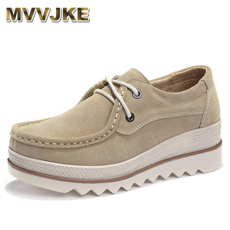 MVVJKE 2018 Autumn women flats thick soled   leather     suede   platform sneakers shoes female casual shoes lace up flats creepers