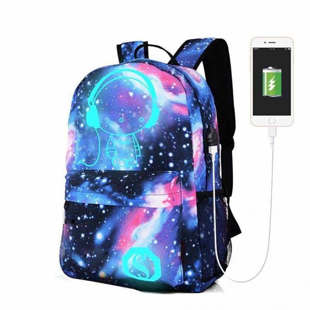 Popular Meninas Adolescentes Galaxy Noctilucentes Lona Mochila Carregador  USB Anti-Roubo Bloqueio Céu Estrelado Universo 88106353fe