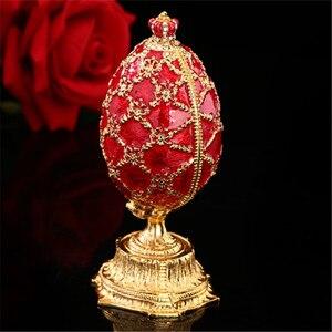 Image 2 - QIFU 러시아 빨간색 파란색 녹색 Faberge 계란과 미니어처 성 홈 장식 선물에 대 한 공예에