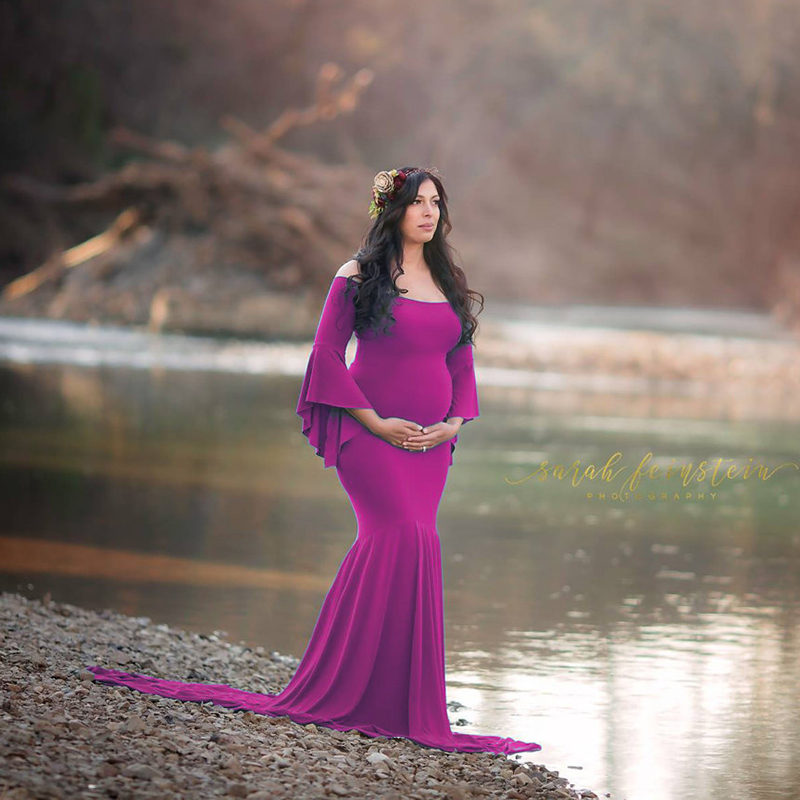 New Maternity Photography Props Maternity Gown Shoulderless Maternity Dress Fancy Shooting Photo Pregnant Women Dress Clothing