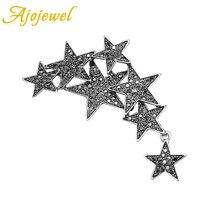 Ajojewel Color plata estrellas en forma de broches Vintage alfileres para mujer lleno de diamantes de imitación joyería de moda regalo de fiesta para amigos