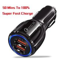 Nuevo cargador de coche para teléfono móvil USB de carga rápida con forma única 3,0 2,0, 2 puertos, batería de 50min a 100% para Universal con caja