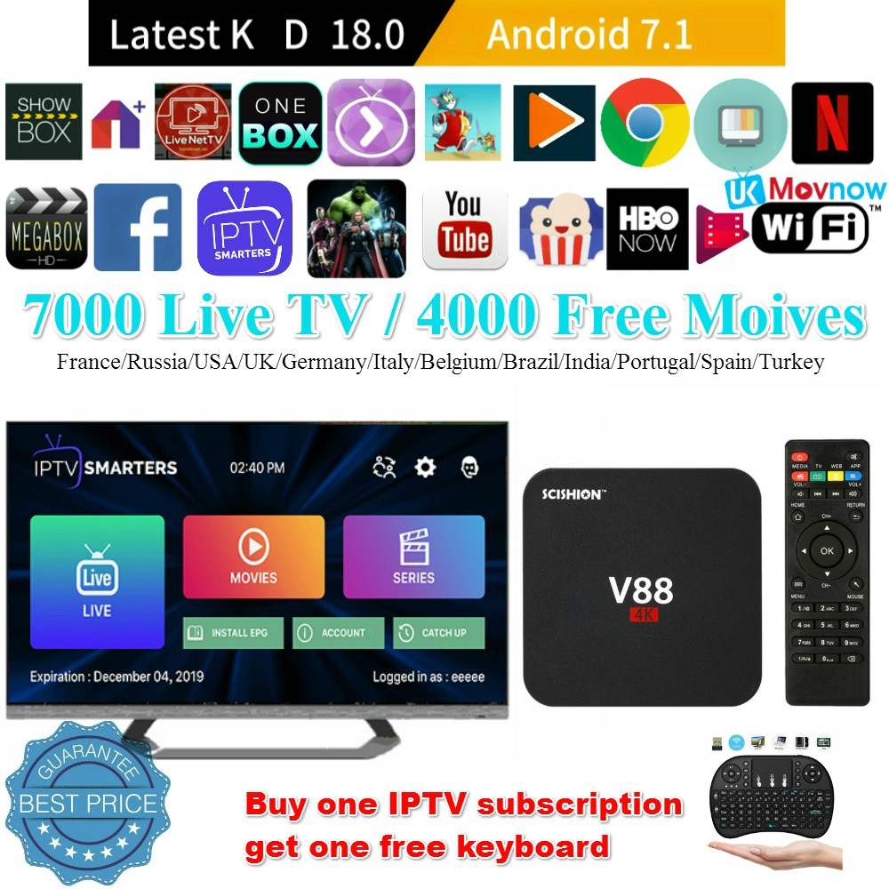 V88 Android 7.1 Smart TV Box RK3229 4K Quad Core 8G WiFi H.265 DLNA Media Player