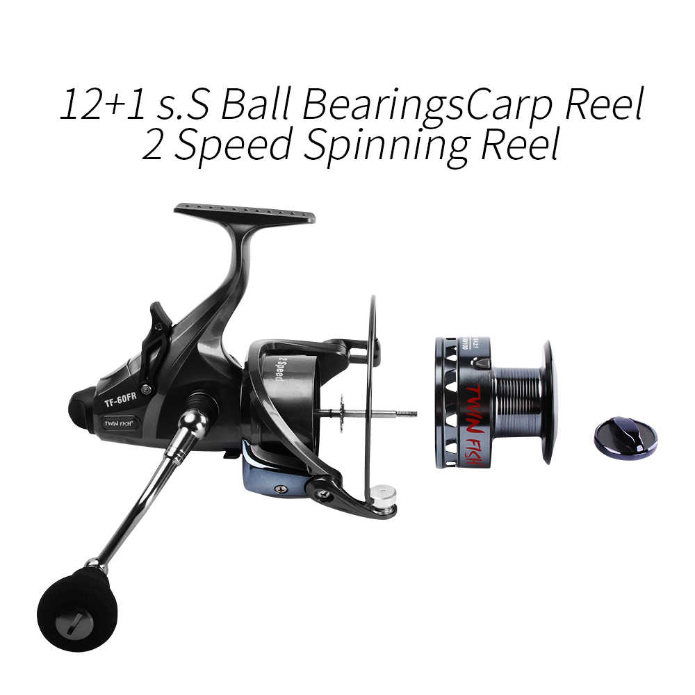 Palissander 2 Speed 6.3: 1 4.3: 1 voor En Echte Dual Remmen Spinning Reel 12 + 1 SS Lagers Karper Vissen Rollen + Spare Spool