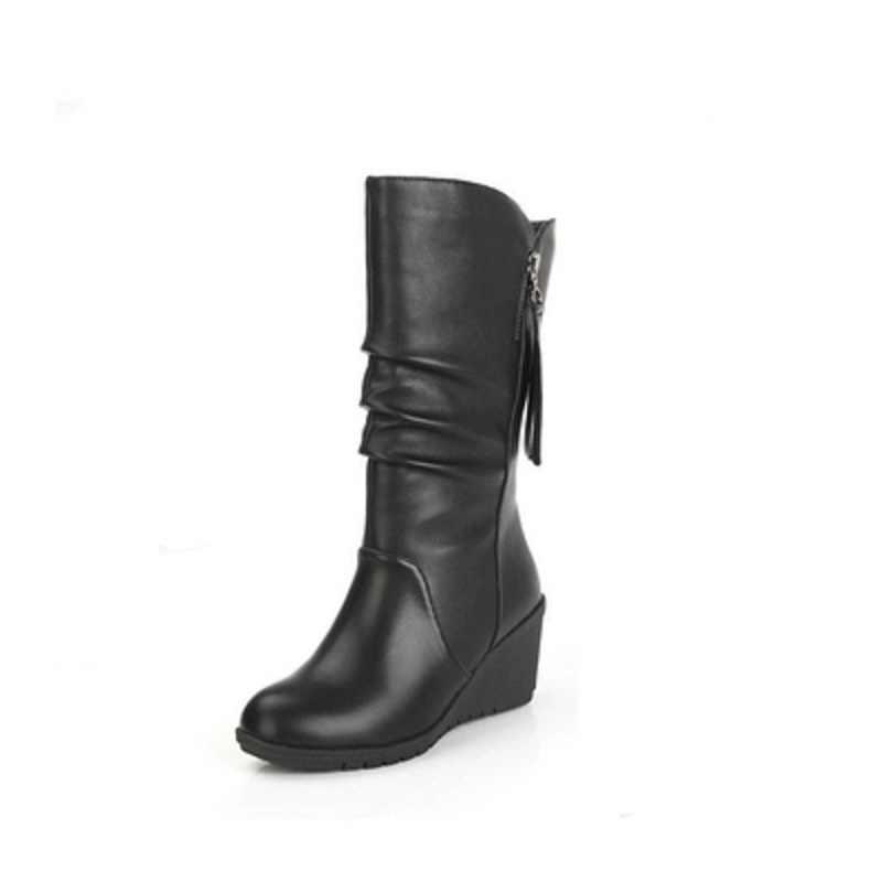 2019 แฟชั่นฤดูใบไม้ร่วงใหม่และ winter snow boots รองเท้า Martin รองเท้าส้นสูงรองเท้า wedges รอบหัวรองเท้า