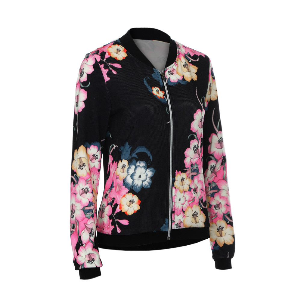 Womens Ladies Biker Celeb Camo Flower FLoral Print Zipper Up Bomber Jacket Y82523