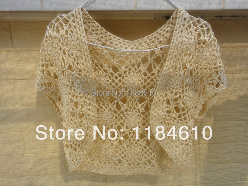 Shrugs Bolero Jacket Wedding Lace Crochet Cover up Floral Patchwork ...