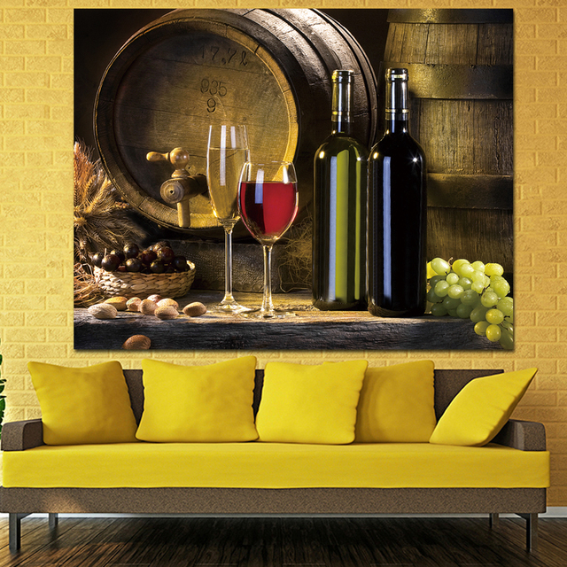 2017 Wall Art Fruit Grape Red Wine Glass Picture Art for Kitchen Bar ...