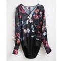New Vintage Floral Printed Blouse Bodysuit Women Jumpsuit Cross V Neck Long Sleeve Short playsuit Casual Brand Overalls LYZZ5206
