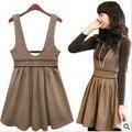 2015 nueva moda del u-cuello dress sin mangas arco vestido plisado de moda de lana de lana de las mujeres dress plus size qy13022706