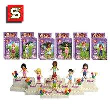 6PCS/lot girl birthday gift educational Assembling building blocks Original Blocks Action toy Figures gift for kids toys SY150