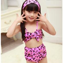 New Kids swimwear Leopard print Girls Swimsuit Kids Two-pieces swimwear Children Beachwear Biquini infantil H063-R3