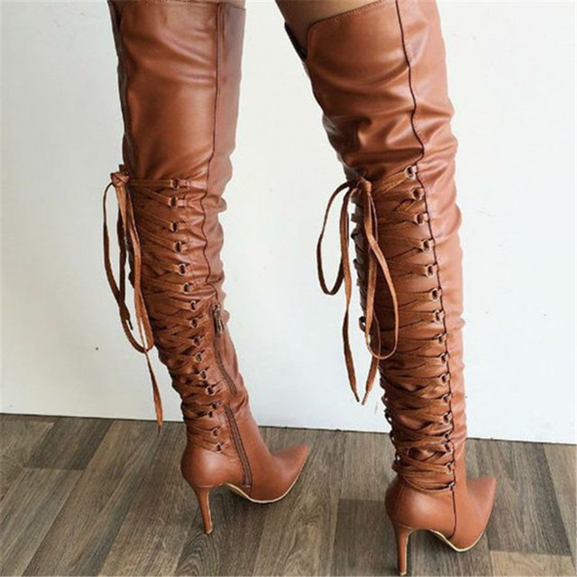 Soft Leather Thigh High Pointy Boots Sexy Thin High Heel