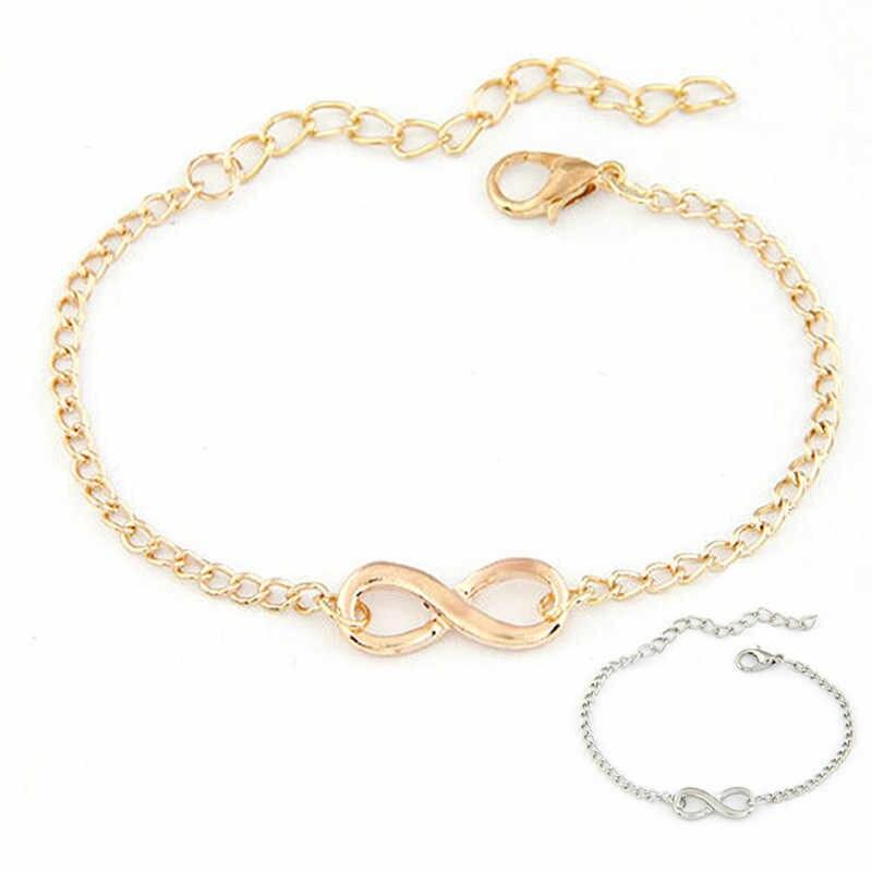 TZ #50 2018 nowych moda Link Chain kobiety mężczyźni Handmade prezent urok 8 kształt biżuteria bransoletka nieskończoność srebrny i złoty