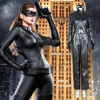 Batman The Dark Knight Rises Cosplay Catwoman Costume Uniform Jumpsuit Outfits Mask Halloween Gloves Fashion Party Fast Shipping