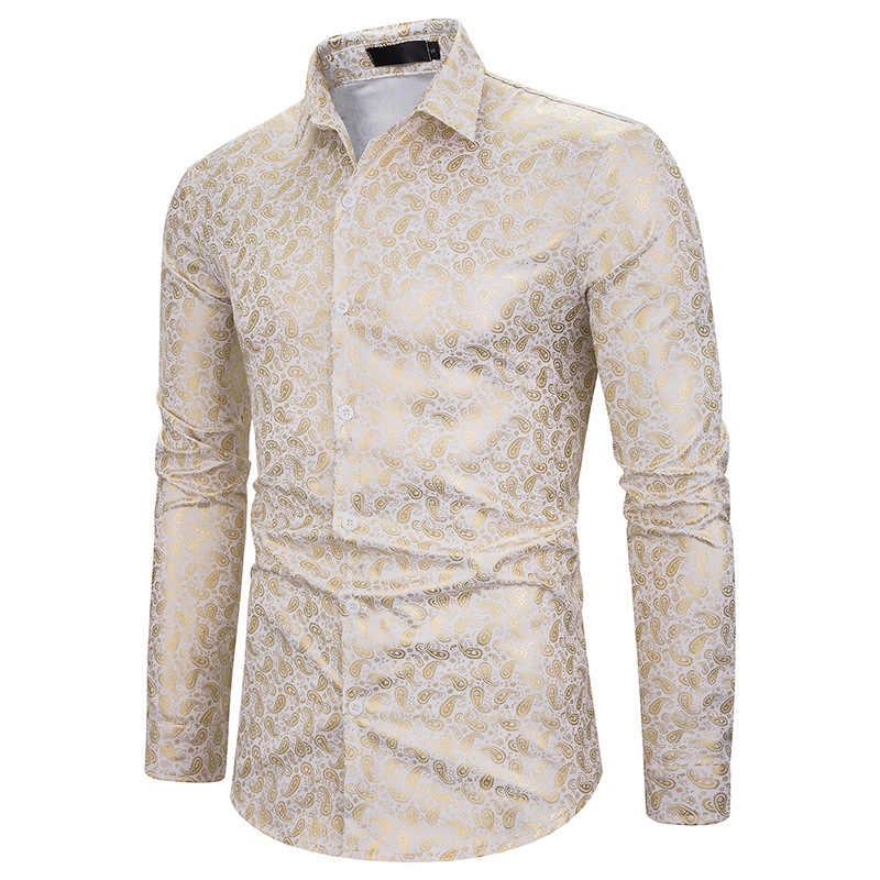 Nowy złoty brązujący Camisa społecznej koszule męskie