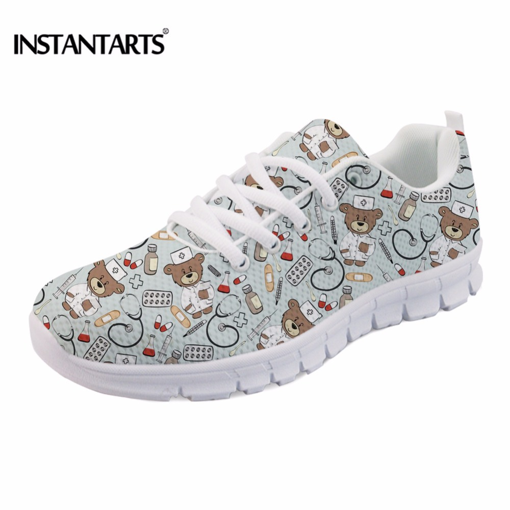 INSTANTARTS Women Casual Shoes Youth Girl Lace Up Cartoon Sneakers Shoes Cute Nurse Bear Pattern Woman Breathable Flats Shoes instantarts pink sneakers women casual flats cute cartoon pediatrics bear doctor nurse pattern lady air mesh laces up flat shoes