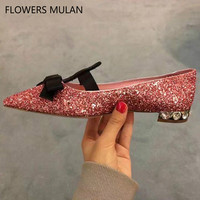 Luxury Handmade Sequined leather Girl Casual Shoes Pink Black Bling Crystal Heel Ballet Shoes Woman Bowtie Slip On Zapatos Mujer