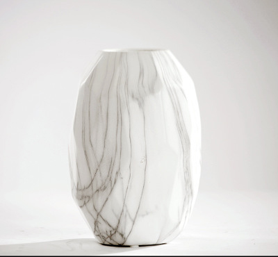 White Marble Pattern Tabletop Ceramic Vase Living Room Study Desktop Ceramic Crafts Display Flower Home Decoration