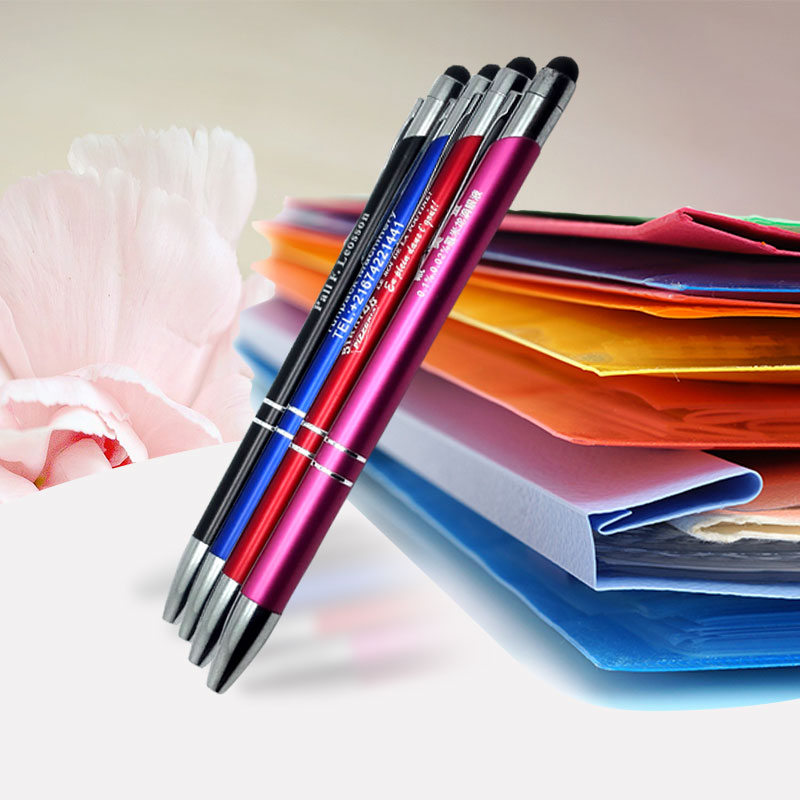 NEW colorful ballpoint pens Custom imprinted with your text logo artwork design website FREE by laser 500pcs a lot in Banner Pens from Office School Supplies