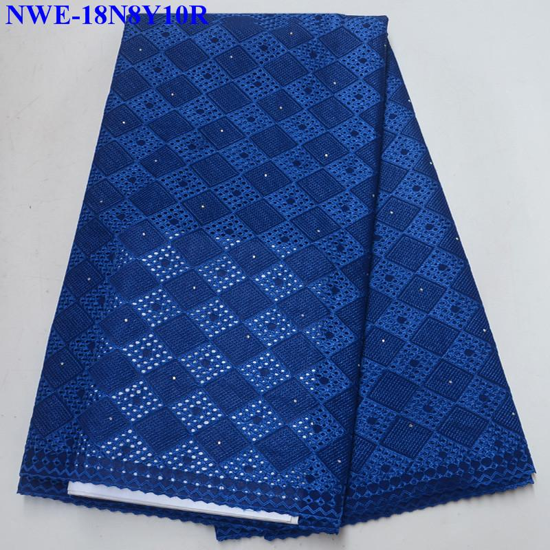 Best Selling Royal blue Swiss voile lace African Lace Fabric Cotton 2018 High Quality Rhinestones Nigerian Lace Fabric ER003